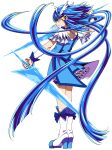 1girl absurdres aoki_reika bangs blue_eyes blue_hair blue_skirt blush boots closed_mouth crystal_sword cure_beauty ebura_din eyebrows_visible_through_hair floating_hair frown full_body highres holding holding_sword holding_weapon knee_boots layered_skirt long_hair miniskirt precure profile shiny shiny_hair simple_background skirt smile_precure! solo standing sword very_long_hair weapon white_background white_footwear