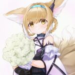 1girl absurdres animal_ears arknights bangs bare_shoulders black_gloves blonde_hair blue_hairband bouquet braid breasts brown_eyes closed_mouth commentary eyebrows_visible_through_hair flower fox_ears fox_girl fox_tail gloves gradient gradient_background grey_background hair_between_eyes hair_rings hairband highres holding holding_bouquet infection_monitor_(arknights) kitsune looking_at_viewer midu5 multiple_tails oripathy_lesion_(arknights) purple_background rose shirt short_sleeves small_breasts smile solo suzuran_(arknights) symbol-only_commentary tail twin_braids upper_body white_flower white_rose white_shirt wide_sleeves yellow_eyes