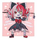 1girl ahoge bangs commentary english_commentary eyebrows_visible_through_hair full_body happy_birthday heterochromia hololive hololive_indonesia kukie-nyan kureiji_ollie looking_at_viewer multicolored_hair open_mouth red_eyes redhead solo sword torn_clothes twitter_username udin_(kureiji_ollie) virtual_youtuber weapon zombie