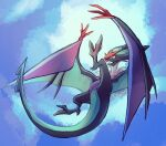colored_sclera commentary_request fangs flying full_body fusenryo green_sclera highres looking_up no_humans noivern open_mouth pokemon pokemon_(creature) solo yellow_eyes