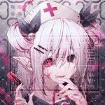 1girl black_eyes blood commission heterochromia nurse original pink_blood pink_eyes pointy_ears red_cross smile syringe twitter_username yandere yun_(outsidey)