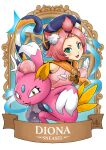 1girl :3 :d animal_ears bangs_pinned_back banner blush_stickers cat cat_ears cat_girl cat_tail character_name commentary crossover detached_sleeves diona_(genshin_impact) english_commentary fang forehead genshin_impact gloves green_eyes hat long_sleeves looking_at_viewer open_mouth pink_hair pokemon pokemon_(creature) puffy_detached_sleeves puffy_sleeves ry-spirit short_hair sidelocks smile sneasel tail thick_eyebrows white_gloves