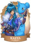 1boy bangs banner belt blue_hair brown_gloves character_name commentary crossover english_commentary eyebrows_visible_through_hair eyepatch fingerless_gloves fur_scarf genshin_impact gloves grey_eyes hair_between_eyes kaeya_(genshin_impact) lapras long_hair long_sleeves looking_at_viewer pokemon pokemon_(creature) ry-spirit sidelocks vision_(genshin_impact)