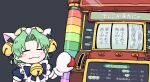 1girl animal_hat apron bell blush_stickers bseibutsu cat_hat closed_eyes dejiko di_gi_charat green_hair hair_bell hair_ornament hat jingle_bell maid maid_apron puffy_short_sleeves puffy_sleeves short_sleeves slot_machine smile solo translated upper_body white_mittens