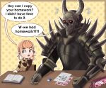 1boy 1girl annette_fantine_dominic armor blue_eyes book chair death_knight_(fire_emblem) english_text eraser fake_horns fire_emblem fire_emblem:_three_houses flying_sweatdrops full_armor garreg_mach_monastery_uniform glowing glowing_eyes hair_rings hello_kitty hello_kitty_(character) helmet highres horned_helmet horns mask orange_hair pencil pencil_case polka_dot polka_dot_background red_eyes shoulder_spikes sitting skull_mask spikes sweat sweating_profusely terrifiedmouse whispering