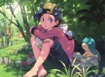 1boy :o artist_name backwards_hat bag_removed bandaid bandaid_on_knee barefoot black_hair black_shorts commentary_request cyndaquil day ethan_(pokemon) grass grey_eyes hat hood hood_down jacket long_sleeves looking_at_viewer male_focus outdoors pokemon pokemon_(creature) pokemon_(game) pokemon_egg pokemon_hgss red_jacket sentret shoes shoes_removed short_hair shorts signature sitting toes xichii