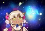 +_+ 1girl :o absurdres bangs beads blonde_hair chibi commentary dark-skinned_female dark_skin hair_beads hair_ornament highres hololive hololive_english limiter_(tsukumo_sana) long_hair meme parody planet_hair_ornament same_anko solo space space_cat_(meme) star_(sky) symbol-only_commentary tsukumo_sana twintails virtual_youtuber yellow_eyes