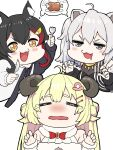 +_+ 3girls :3 :d =_= ahoge animal_ears black_hair blonde_hair blush boned_meat bow bowtie braid fang food fork grey_eyes grey_hair hair_ornament hairclip hands_up highres holding holding_fork hololive horns imminent_cannibalism lion_ears long_hair long_sleeves looking_at_viewer meat mikan_(chipstar182) mouth_drool multicolored_hair multiple_girls nose_blush ookami_mio open_mouth orange_eyes red_bow red_neckwear sheep_ears sheep_horns shishiro_botan simple_background smile spoken_symbol streaked_hair tearing_up tears tsunomaki_watame v-shaped_eyebrows virtual_youtuber wavy_mouth white_background wolf_ears