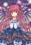 1girl :o bangs bat_wings black_bow black_dress bow dot_nose dress eyebrows_visible_through_hair feet_out_of_frame fireflies floral_print frilled_shirt_collar frills hair_bow hands_on_own_chest head_wings koakuma lace-trimmed_ribbon lace_trim layered_dress long_dress long_hair long_sleeves looking_at_viewer marker_(medium) own_hands_together red_bow red_eyes red_ribbon redhead ribbon ribbon-trimmed_dress rose_print rui_(sugar3) sample solo striped striped_ribbon touhou traditional_media very_long_hair watermark white_sleeves wings