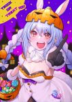 1girl :d basket black_bra black_gloves blue_hair blurry blurry_background bra braid breasts bunny-shaped_pupils candy commentary depth_of_field don-chan_(usada_pekora) dress ears_through_headwear english_commentary food fur-trimmed_gloves fur_trim gloves hair_between_eyes halloween halloween_bucket highres holding holding_basket hololive jack-o'-lantern looking_at_viewer medium_breasts mikan_(chipstar182) multicolored_hair night night_sky open_mouth pointing pointing_at_viewer pumpkin_on_head red_eyes short_eyebrows sky smile solo star_(symbol) symbol-shaped_pupils teeth trick_or_treat twin_braids two-tone_hair underwear upper_teeth usada_pekora white_dress white_hair