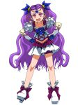 1girl :d absurdres bike_shorts collarbone earrings ebura_din full_body hands_on_hips highres jewelry leaning_forward long_hair midriff milky_rose miniskirt navel open_mouth precure purple_hair purple_shorts red_eyes short_shorts shorts shorts_under_skirt simple_background skirt smile solo stomach twintails very_long_hair white_background white_footwear white_skirt yes!_precure_5 yes!_precure_5_gogo!