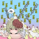 1girl animal_on_head bangs bird blonde_hair blue_background chick chicken closed_mouth eyebrows_visible_through_hair fe_(tetsu) gradient gradient_background multicolored multicolored_background multicolored_hair niwatari_kutaka on_head pink_background red_eyes redhead short_sleeves spoken_squiggle squiggle sweatdrop too_many too_many_chicks touhou two-tone_hair