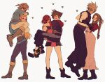 3boys 3girls aerith_gainsborough bangs blonde_hair boots bow bracelet braid braided_ponytail brown_hair carrying cloud_strife commentary couple elf english_commentary final_fantasy final_fantasy_vii final_fantasy_vii_remake heart hood hooded_vest hoodie jewelry kairi_(kingdom_hearts) kingdom_hearts leather leather_boots link multiple_boys multiple_girls pointy_ears princess_carry princess_zelda redhead sera_(serappi) simple_background sleeveless smile sora_(kingdom_hearts) spiky_hair the_legend_of_zelda turtleneck vest