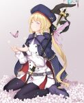 1girl absurdres artoria_pendragon_(caster)_(fate) artoria_pendragon_(fate) black_ribbon blonde_hair blush boots bow bowtie bug butterfly buttons cape closed_eyes crying deathcure0722 double-breasted fate/grand_order fate_(series) flower hat high_heel_boots high_heels highres long_hair mage_staff pantyhose ponytail purple_bow ribbon saber sitting smile solo wariza white_background