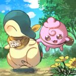 :d bag blush brown_bag brown_eyes bush closed_eyes clouds commentary_request cyndaquil day flower grass igglybuff leg_up lowres no_humans open_mouth outdoors pokemon pokemon_(creature) shoulder_bag sky smile standing standing_on_one_leg tongue tree xichii yellow_flower yellow_neckwear