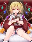 1girl absurdres baileys_(tranquillity650) blonde_hair blue_panties crystal dress fang flandre_scarlet hair_ribbon highres holding holding_stuffed_toy legs looking_at_viewer no_headwear open_mouth panties pantyshot puffy_short_sleeves puffy_sleeves red_dress red_eyes ribbon short_hair short_sleeves side_ponytail sitting solo stuffed_animal stuffed_toy teddy_bear teeth touhou underwear upper_teeth wings wrist_cuffs