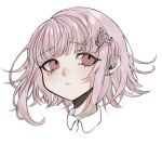 1girl :< bangs bbjj_927 collared_shirt commentary_request cropped_shoulders eyebrows_visible_through_hair flipped_hair galaga hair_ornament head highres looking_up medium_hair nanami_chiaki pink_eyes pink_hair shiny shiny_hair shirt simple_background white_background