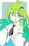 1girl :d ahoge bangs black_neckwear border commentary detached_sleeves eyebrows_visible_through_hair frog_hair_ornament green_eyes green_hair grey_background hair_ornament hair_tubes highres ini_(inunabe00) kochiya_sanae looking_at_viewer necktie open_mouth simple_background smile snake_hair_ornament touhou white_border wide_sleeves