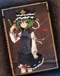 1girl bangs black_skirt blouse blue_vest bow breasts closed_mouth commentary_request cowboy_shot crack dutch_angle eyebrows_visible_through_hair frilled_hat frilled_skirt frills green_eyes green_hair hat highres holding long_sleeves looking_at_viewer photo_(object) red_bow red_ribbon ribbon ribbon-trimmed_skirt ribbon_trim rod_of_remorse shiki_eiki short_hair skirt sleeve_ribbon small_breasts smile solo topadori touhou two-tone_bow vest white_blouse white_bow white_ribbon