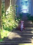 ahoge arm_support bell closed_eyes facing_viewer forest hair_bell hair_ornament head_rest highres hololive mikan_(chipstar182) nature one_side_up pink_hair sakura_miko sandals scenery shoes single_sock single_thighhigh sitting smile socks stairs thigh-highs torii tree white_footwear white_legwear wide_shot