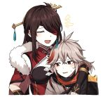 1boy 1girl arm_around_shoulder armor bangs beidou_(genshin_impact) black_gloves blush breasts brown_hair closed_eyes dress earrings eyebrows_visible_through_hair eyepatch fingerless_gloves fur_trim genshin_impact gloves grey_hair hair_ornament hairpin japanese_armor japanese_clothes jewelry kaedehara_kazuha lix long_hair multicolored_hair open_mouth parted_lips ponytail red_eyes redhead simple_background single_earring streaked_hair sweat upper_body white_background