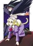 animal_ears black_skirt building capelet cat_ears cat_tail cityscape dress fedora feet_out_of_frame hat holding holding_clothes holding_hat loafers long_sleeves maribel_hearn mob_cap necktie night night_sky outdoors purple_dress shirt shoes skirt sky tail touhou usami_renko white_shirt wings yuzukineko