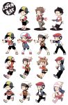 3boys 3girls apron arm_up backwards_hat bangs baseball_cap beanie black_hair black_pants black_shorts boots brendan_(pokemon) brown_footwear brown_hair buttons chibi coat commentary_request dawn_(pokemon) egg ethan_(pokemon) grey_bag grey_footwear hat holding holding_egg holding_tray jacket long_hair long_sleeves lucas_(pokemon) lyra_(pokemon) may_(pokemon) multiple_boys multiple_girls open_clothes open_jacket outstretched_arm oven_mitts pants pink_footwear pokemon pokemon_(game) pokemon_dppt pokemon_egg pokemon_hgss pokemon_oras pokemon_platinum scarf shoes short_hair shorts thigh-highs translation_request tray walking white_apron white_footwear white_headwear white_legwear white_scarf xichii