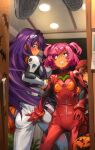 3girls absurdres armor ass ass_grab ayanami_rei ayanami_rei_(cosplay) beer_can blush bodysuit breasts brown_hair can commentary_request cosplay doki_doki_literature_club doorway flat_chest green_eyes hair_intakes hair_ornament hair_scrunchie hairclip halloween highres interface_headset jack-o'-lantern katsuragi_misato katsuragi_misato_(cosplay) khyle. large_breasts long_hair looking_up monika_(doki_doki_literature_club) multiple_girls natsuki_(doki_doki_literature_club) neon_genesis_evangelion pink_eyes pink_hair plugsuit pov purple_hair red_bodysuit red_scrunchie scared scrunchie short_hair short_twintails shoulder_armor souryuu_asuka_langley souryuu_asuka_langley_(cosplay) surprised turning_head twintails twisted_torso very_long_hair violet_eyes white_bodysuit yuri_(doki_doki_literature_club)