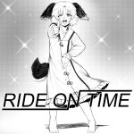 1980s_(style) 1girl animal_ears bare_legs barefoot dog_ears dog_tail dress eyebrows_visible_through_hair frilled_dress frills full_body greyscale highres kasodani_kyouko long_sleeves looking_at_viewer monochrome one_eye_closed open_mouth retro_artstyle short_hair step_arts tail touhou
