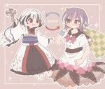 2girls :d alternate_color alternate_hair_color arrow_(symbol) bangs barefoot black_dress black_hair bow bowtie brown_background checkered color_switch dress eyebrows_visible_through_hair highres holding horns japanese_clothes kijin_seija kimono long_sleeves looking_at_viewer looking_to_the_side miracle_mallet multicolored_hair multiple_girls open_mouth puffy_short_sleeves puffy_sleeves purple_hair red_bow red_eyes red_neckwear redhead sakurasaka sash short_sleeves simple_background smile standing star_(symbol) streaked_hair sukuna_shinmyoumaru touhou v-shaped_eyebrows white_hair white_kimono wide_sleeves wristband