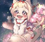 1girl :3 :d absurdres ahoge amai_hiyo amai_hiyo_channel animal_ears bangs blonde_hair blunt_bangs bow cat_ears cat_girl cat_tail child fangs fireworks frilled_legwear headband highres indie_virtual_youtuber looking_at_another open_mouth own_hands_together red_bow red_eyes red_headband red_ribbon ribbon riding short_hair short_twintails sitting skin_fangs sky smile socks solo star_(sky) starry_sky stuffed_animal stuffed_toy symbol-shaped_pupils tail thick_eyebrows twintails virtual_youtuber yukirei