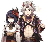 1boy 1girl abs arataki_itto bangs belt black_hair black_nails bodypaint crossed_arms detached_sleeves eyebrows_visible_through_hair facepaint fang genshin_impact gradient_hair grey_hair highres horns japanese_clothes kujou_sara lix long_hair mask mask_on_head multicolored_hair nail_polish open_mouth parted_lips red_eyes redhead shaded_face short_hair simple_background spikes tassel upper_body vision_(genshin_impact) white_background wide_sleeves yellow_eyes