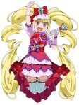 1girl :d absurdres arm_up bangs blonde_hair bow cure_macherie dress ebura_din eyebrows_visible_through_hair full_body gloves hair_bow highres holding holding_instrument hugtto!_precure instrument jumping layered_dress long_hair open_mouth pink_gloves pink_sleeves precure red_bow red_eyes shiny shiny_hair short_dress short_sleeves simple_background smile solo thigh-highs twintails very_long_hair white_background white_legwear zettai_ryouiki