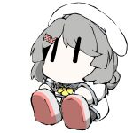 1girl anchor_symbol black_legwear blue_sailor_collar bow bowtie chibi commentary_request double_bun dress grey_footwear grey_hair hair_ornament hairclip hand_on_own_foot hat kaiboukan_no._30_(kancolle) kantai_collection no_mouth pantyhose sailor_collar sailor_dress sailor_hat shoes short_hair simple_background sitting solo task_(s_task80) white_background white_dress white_headwear yellow_neckwear |_|