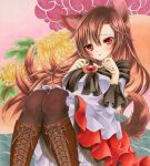 1girl animal_ears black_legwear blush boots breasts brooch brown_footwear brown_hair cross-laced_footwear dress eyebrows_visible_through_hair floral_background flower high_heel_boots high_heels imaizumi_kagerou jewelry lace-up_boots large_breasts long_hair looking_at_viewer marker_(medium) off-shoulder_dress off_shoulder open_mouth red_eyes solo tail touhou traditional_media wassmint wide_sleeves wolf_ears wolf_tail