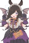 1girl animal_ears bangs bat_ears black_skirt blush bow bowtie brooch brown_hair fangs flying_sweatdrops gloves hair_over_one_eye hairband halloween highres horse_ears horse_girl jewelry lace-trimmed_gloves lace_trim long_hair looking_at_viewer open_mouth purple_bow purple_gloves rice_shower_(umamusume) shirt short_sleeves simple_background skirt smile solo spider_web_print twitter_username umamusume vinhnyu violet_eyes white_background white_shirt