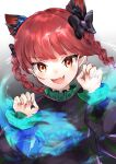 1girl 999_cats :d absurdres animal_ear_fluff bangs black_bow blush bow braid commentary_request dress extra_ears eyebrows_visible_through_hair fang fingernails gradient gradient_background green_dress hair_bow highres hitodama kaenbyou_rin long_sleeves looking_at_viewer nail_polish open_mouth orange_eyes paw_pose pointy_ears red_nails redhead sharp_fingernails skin_fang smile solo standing touhou twin_braids
