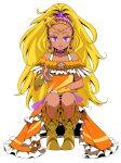 1girl absurdres blonde_hair collarbone cure_soleil dark-skinned_female dark_skin dress ebura_din full_body hair_ornament highres jewelry long_hair looking_at_viewer mole mole_under_eye necklace orange_dress parted_lips ponytail precure simple_background solo standing star_(symbol) star_hair_ornament star_twinkle_precure very_long_hair violet_eyes white_background yellow_footwear