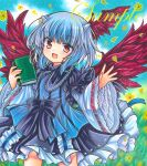 1girl bangs bird_wings black_bow black_dress blue_dress blue_hair blue_ribbon book bow day dot_nose dress eyebrows_visible_through_hair fang feet flower frilled_dress frills hand_up head_wings holding holding_book horns lace-trimmed_dress lace_trim light_blush long_sleeves looking_at_viewer marker_(medium) medium_hair multicolored multicolored_clothes multicolored_dress open_mouth outdoors petals red_eyes red_wings ribbon rui_(sugar3) sample silver_hair single_head_wing skin_fang smile solo tokiko_(touhou) touhou traditional_media watermark wide_sleeves wings