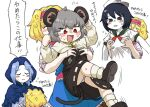 4girls :< alice_margatroid anger_vein animal_ears black_eyes black_hair blonde_hair blue_hair blush_stickers breast_grab breasts bseibutsu colored_skin commentary_request cookie_(touhou) face_to_breasts flour_(cookie) grabbing hairband ichigo_(cookie) kumoi_ichirin medium_breasts milk_(cookie) mouse_ears mouse_girl mouse_tail multiple_girls murasa_minamitsu nazrin nyon_(cookie) panties pantyshot red_eyes sailor_collar sailor_shirt shirt sideways_hat small_breasts sweatdrop tail touhou translation_request underwear white_panties white_skin