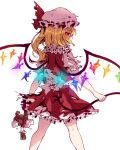 1girl absurdres back_bow blonde_hair bow broken caramell0501 commentary commentary_request crystal english_commentary eyebrows_visible_through_hair flandre_scarlet from_behind glowing glowing_eye hair_between_eyes hat hat_ribbon highres laevatein_(touhou) long_hair looking_at_viewer looking_back mob_cap one_side_up red_eyes red_ribbon red_skirt red_vest ribbon shirt short_sleeves side_ponytail simple_background skirt slit_pupils socks solo stuffed_animal stuffed_toy teddy_bear torn_clothes torn_skirt torn_sleeves touhou vest white_background white_bow white_legwear white_shirt wings wrist_cuffs yellow_neckwear