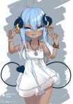 1girl absurdres ahoge arm_up bangs bare_legs bare_shoulders bead_bracelet bead_necklace beads blue_eyes blue_tongue blush bow bracelet child chinese_commentary chinese_text collarbone colored_tongue commentary_request cowboy_shot dark-skinned_female dark_skin dated demon_tail double_w dress ear_piercing eyes_visible_through_hair facial_tattoo grey_background hair_between_eyes halterneck hand_up highres horns jewelry karv long_hair looking_at_viewer necklace original piercing pointy_ears ring sidelocks signature simplified_chinese_text solo spaghetti_strap tail tattoo teeth tongue tongue_out tongue_piercing translation_request upper_teeth w white_background white_bow white_dress