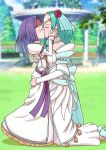 2girls absurdres age_difference alternate_costume aqua_hair blush bride ceremony closed_eyes commission couple dress fire_emblem fire_emblem:_path_of_radiance fire_emblem:_radiant_dawn fire_emblem_heroes grass hand_on_another's_ass hand_on_another's_back hands_on_another's_face headband headgear height_difference high_heels highres hug kiss kneeling long_sleeves married misaeldm multiple_girls outdoors purple_hair sanaki_kirsch_altina sigrun_(fire_emblem) sky strapless strapless_dress tree wedding wedding_dress yuri