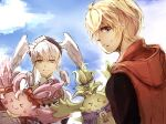 armor blonde_hair blue_eyes blush braid breasts crown_braid curly_hair gloves head_wings highres juliet_sleeves long_hair long_sleeves looking_at_viewer male_focus medium_breasts melia_antiqua monado multiple_boys nopon o-ring open_mouth puffy_sleeves short_hair shulk_(xenoblade) silver_hair simple_background smile staff toosut0 upper_body vest weapon xenoblade_chronicles xenoblade_chronicles:_future_connected xenoblade_chronicles_(series)