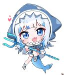 1girl :d animal_hood blue_eyes blue_hair blue_hoodie blue_legwear commentary drawstring english_commentary fish_tail full_body gawr_gura heart highres holding holding_polearm holding_weapon hololive hololive_english hood hood_up hoodie long_hair long_sleeves looking_at_viewer multicolored_hair open_mouth polearm shark_hood shark_tail sharp_teeth shoes signature silver_hair simple_background smile socks solo streaked_hair tail teeth tosyeo trident v-shaped_eyebrows virtual_youtuber weapon white_background white_footwear wide_sleeves
