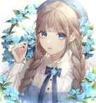 1girl arm_up bangs blue_bow blue_eyes blue_flower blue_nails blue_neckwear blunt_bangs bow braid brown_hair buguma closed_mouth collared_shirt expressionless flower frilled_skirt frills glint hat light_blush long_sleeves looking_at_viewer original puffy_long_sleeves puffy_sleeves shirt sidelocks skirt solo sparkle twin_braids upper_body white_background