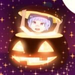 1girl :d blue_hair commentary_request glowing halloween jack-o'-lantern minigirl nude open_mouth pumpkin purple_background red_eyes shirosato short_hair simple_background smile solo sparkle sukuna_shinmyoumaru touhou