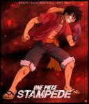 1boy abs angry bare_pectorals black_hair blood blood_on_hands chris_re5 clenched_hands clenched_teeth constricted_pupils full_body hat_on_back male_focus monkey_d._luffy one_piece open_clothes open_shirt pectorals red_background sandals scar scar_on_chest shorts signature solo teeth