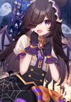 1girl absurdres bat_wings black_hair blurry blurry_background bow bowtie dress fang frills ghost gloves hair_over_one_eye hands_up highres juliet_sleeves long_hair long_sleeves looking_at_viewer make_up_in_halloween!_(umamusume) open_mouth puffy_sleeves rice_shower_(umamusume) sapphire_(sapphire25252) short_sleeves solo tearing_up umamusume upper_body wings