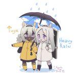 arknights heavyrain_(arknights) highres rain tuye_(arknights) umbrella